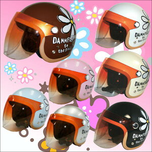 即納!【ダムトラックス】FLOWER-JETフラワージェットシールド付きジェットヘルメット fs04gm