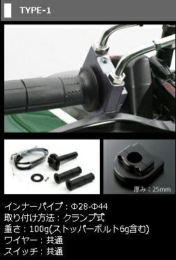 ブラック TYPE-1 ACTIVE CBR600RR φ28 送料無料 車種専用スロットルキット グリップ関連パーツ
