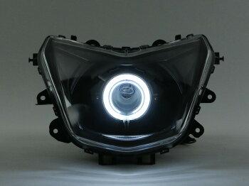 シグナスX(CYGNUS-X)4型SEA5J魚眼ヘッドライトPVCイカリング白HID40W6000KコンプリートキットGAMMAS