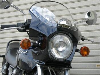 ゼファー750・RS(ZEPHYR)マスカロードクリアスクリーンエボニー(金ライン)H8エアロスクリーンCHICDESIGN(シックデザイン)