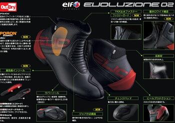 ライディングシューズエヴォルツィオーネ02(EVOLUZIONE02)ブラックelf(エルフ)