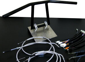 エストレヤ/RS/カスタム(-06)アローハンドルブラックメッキセットメッシュアップハンバーテックスエストレヤアップハンドルに変更する為のハンドル、ワイヤー、ブレーキホース、ハーネス等お得なエストレヤのアップハンドルセットキット!