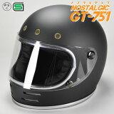 GT751 ヘルメット 族ヘル マットブラック ノスタルジック GT-751 今だけ!!送料無料!!族ヘル ビンテージ ヘルメット GT751 族ヘル フルフェイス ノスタルジック GT-751