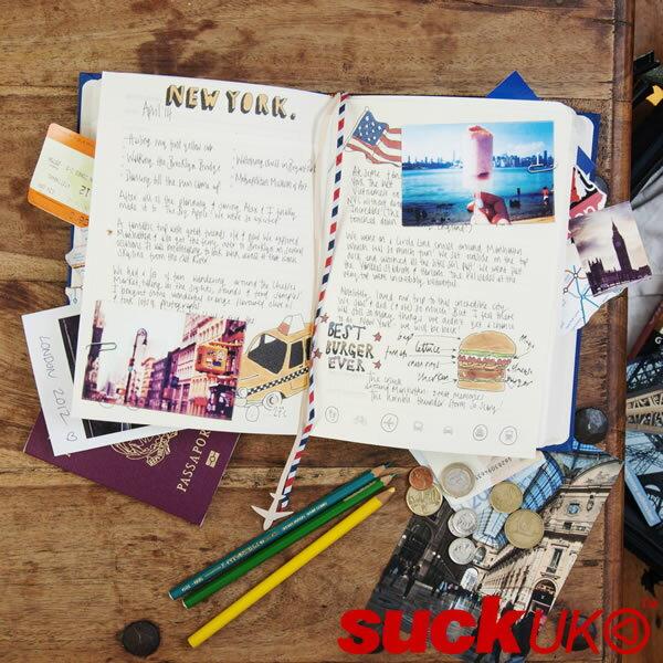 【ポイント10倍】『マイトラベルジャーナルノート ブルー』【suckUK ハンドブック ノート 文房具 おもしろ雑貨】