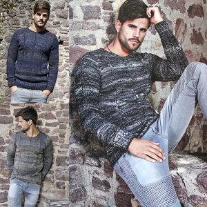 ローゲージ ニット セーター メンズ ストライプ編み 厚手 ローゲージ 厚地黒 紺 キャメル 大きいサイズも入荷 クルーネック グラデーション