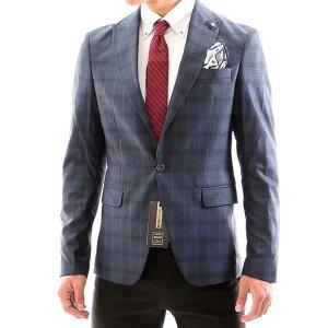 テーラードジャケット チェック メンズ 紺 ブレザー ピークドラペル タイト 春秋冬 ビジネス ジャケット ジャケパン 大きいサイズも入荷