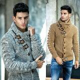 ハイネック ニット ニットジャケット ケーブル編み 厚手 ローゲージ セーター メンズ 白グレー ベージュ XXL大きいサイズも入荷 アクリル ウール アウター 冬