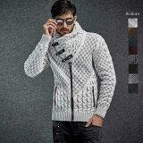 ハイネック ニット セーター ジップアップ ジャケット カーディガン ローゲージ セーター 市松ケーブル編み 白黒 メンズ ウール 白/黒 XXL大きいサイズも入荷
