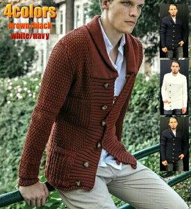 ニットジャケット メンズ カーディガン 秋冬 セーター 厚手 ローゲージ メンズ 大きいサイズ も入荷