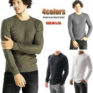 ニット セーター メンズ 薄手 薄地 コットン クルーネック 白黒グレー タイト 細身 大きいサイズ も入荷