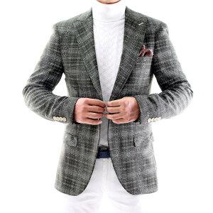 テーラードジャケット ブレザー チェック メンズ 緑 タイト/スリムフィット ジャケパン 春/秋/冬 大きいサイズも入荷 ビジネスジャケット