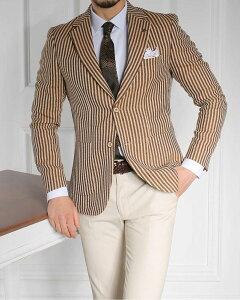 テーラードジャケット サマージャケット 茶 麻/リネン ストライプ ブレザー 背抜き 春/夏/秋 メンズ ジャケパン ビジネスジャケット 大きいサイズも入荷 裏地無し