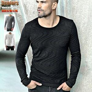 ニット セーター 薄手/薄地 マーブル メンズ 黒紺白 クルーネック 大きいサイズも入荷 秋冬春
