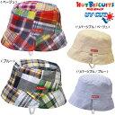 サンクスプライス☆MIKIHOUSE HOTBISCUITS ミキハウス ホットビスケッツ  チェックのパッチワーク☆リバーシブルハット 帽子:46-54cm: 72-9104-784