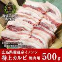 送料無料 天然猪 焼肉用 特上カルビ 500g お子様にも食