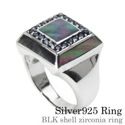 Binich(ビニッチ) ブラックシェルジルコニアリング 印台 メンズ 指輪 メンズ シルバー925 アクセサリー [シルバーリング]