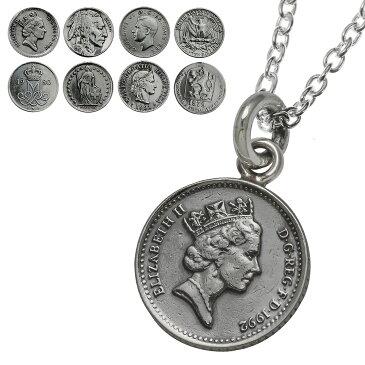 Binich(ビニッチ) アンティーク コイン ペンダント ネックレス メンズ (2mmアズキチェーン割引セット) 本物の硬貨 硬貨 シルバー925 アクセサリー[シルバーペンダント]