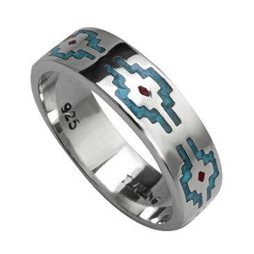 Binich(ビニッチ) 【有料刻印可能】ネイティブパターンフラットリング メンズ 指輪 メンズ インディアンジュエリー系 シルバー925 アクセサリー[シルバーリング]