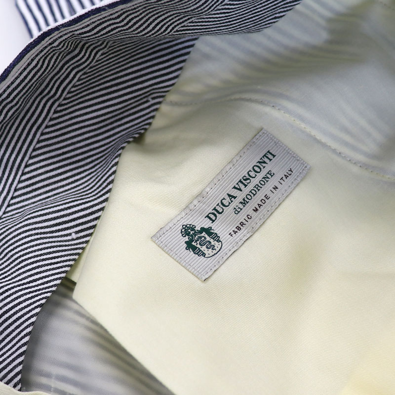 DUCA VISCONTI≪ドゥカヴィスコンティ≫ イタリア製生地 ベルトレス ツータックパンツ メンズ ストレッチ コードレーン コットンパンツ スラックス クールビズ 2タック 綿パンツ ≪白xネイビー ストライプ≫26000BK