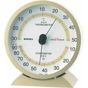 エンペックス気象計温度湿度計スーパーEX高品質温湿度計置き掛け兼用日本製シャンパンゴールドEX-2718