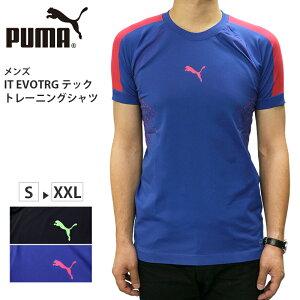 プーマ メンズ 半袖 Tシャツ PUMA 655172 IT EVOTRG テック トレーニング シャツ | スポーツ ブランド ウェア トップス エヴォ ニット 黒 ブラック 青 ブルー 伸縮 機能 伸びる フィット 厚手 動きやすい フィットネス ジム サッカー フットサル チーム ロゴ かっこいい