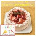 苺2段サンド/ピンク色で苺味の生クリームいちご4号(直径約12cm)/バースデーケーキ4号/北海道生クリーム100%/バースデーオーナメント・キャンドル小1袋6本付き/