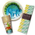 【ピクニック・お花見セット】ザウルス恐竜男の子パーティー紙皿紙コップストローパーティーグッズ