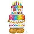 バースデーケーキ134cm×68cmAirLoons【風船のみ】【アルミバルーン・アルミ風船】お誕生日のお祝いバルーン自宅で記念撮影おうちスタジオバースデイパーティーデコレーション置型バルーン