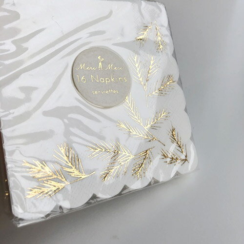 MeriMeri『箔押しゴールド松の枝ペーパーナプキン』