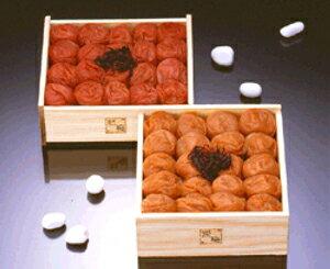 『熊平の梅(梅干)』梅草子 木箱二段重(うす塩味梅・天然しそ漬組み合わせ)【送料無料