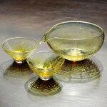 glasscalico グラスキャリコ ハンドメイド ガラス酒器 月光 (げっこう) 冷酒器セット (片口・ぐい呑 2個)