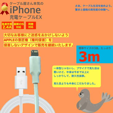 iPhone8/8Plus iPhone7 iPhoneSE iPhone6s USB 充電ケーブル コード USBケーブル 3m 300cm 充電器 データ通信 アイフォン アイホン