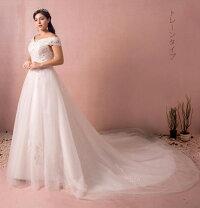 【大きいサイズウェディングドレス】ウェディングドレス/ロングウエディングドレス/Aライト/編み上げタイプ/床付き/オフショルダー【ホワイト】【床付きタイプ・トレーンタイプ】【XL〜7XLサイズ】【fh45】