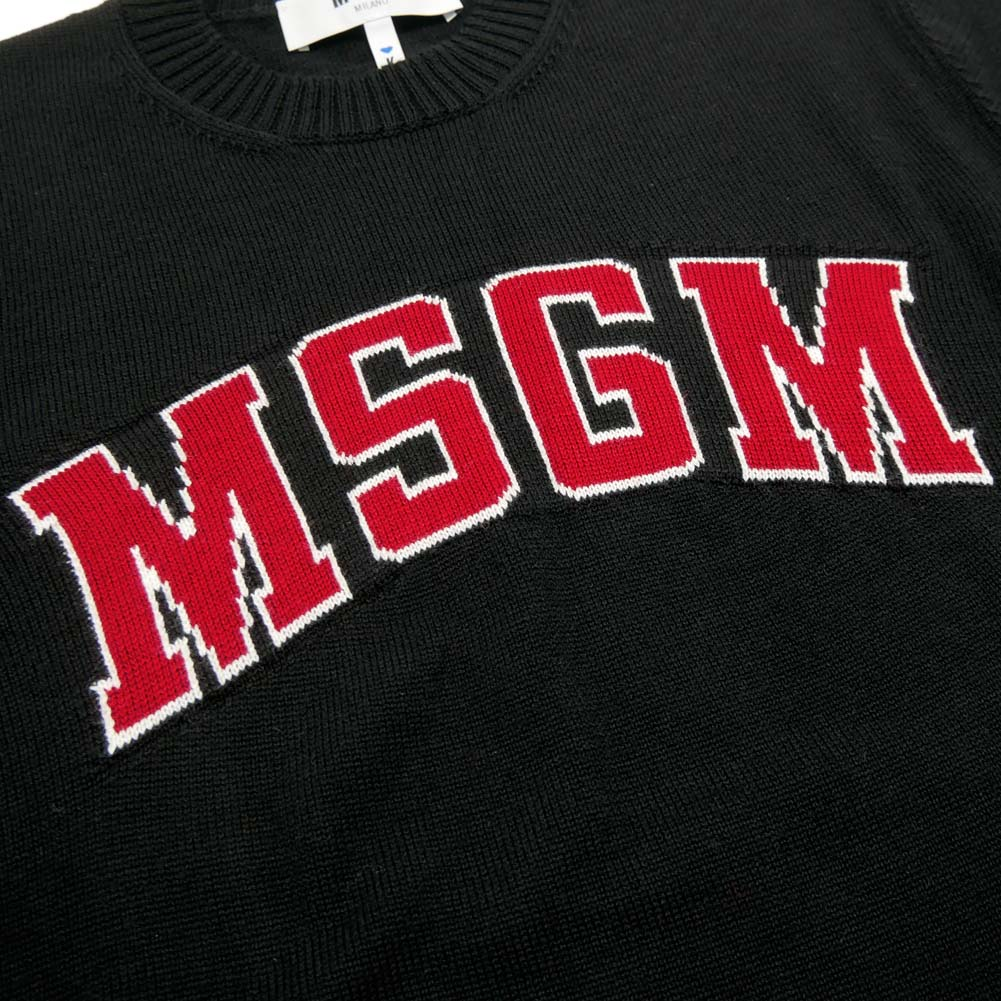 (エムエスジーエム)MSGM メンズクルーネックニット 2540MM141 184776 ブラック【あす楽対応】