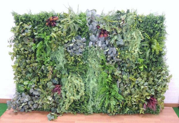 壁面緑化パネル L字型グリーン(2分割 大型 目隠し イミテーション 造花 フェイク 装飾):ビワールデコ