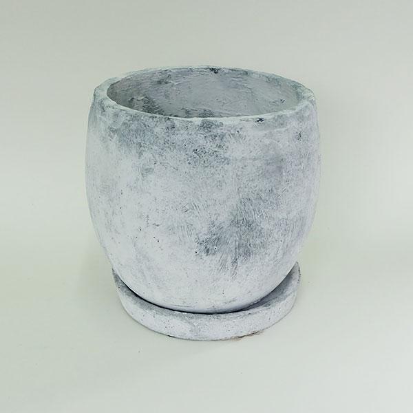 ロキシーボール L ホワイト【植木鉢/おしゃれ/アンティーク/コンクリート/シャビー】