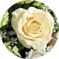 高級造花クリームカップのアップ画像