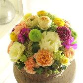 アレンジメントフラワー Round Basket(黄色・オレンジ系)※デザイナーが手がけるお洒落な一品。お見舞いや快気祝いなど、退院後のお祝いに関する贈り物に【送料・メッセージカード無料】【あす楽】