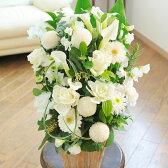 お見舞いや退院祝い、快気祝いのプレゼントにおすすめ!アレンジメントフラワー G&W Basket(グリーン・白系)と電報を一緒に宅配します【祝電とお祝い花がセットになったフラワーギフト】※全国送料無料