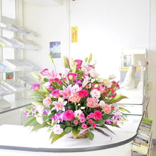 ビジネスに!当日17時まで受付!大型アレンジメントフラワーピンク色系1.4万円コース 当日配達可...