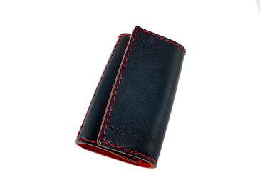 送料無料 日本製 ハンドメイド 財布 メンズ 栃木レザー キーケース 伝統を守り続けた栃木レザーの革を贅沢に使用 ブラック×レッド ギフト プレゼント クリスマス