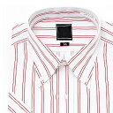 半袖ボタンダウン レッドストライプ ワイシャツ ボタンダウン 半袖ワイシャツ メンズ 半袖 Yシャツ ...