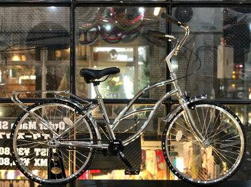 ノーパンク自転車 FUN EASY ビーチクルーザー 24インチ 完成車クローム クルーザー おススメ ビーチクルーザー24インチ ノーパンクタイヤ ライダースカフェ