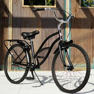 パンクしない自転車 FUN EASY ビーチクルーザー 24インチ 完成車マットブラック ノーパンク クルーザー おススメ ビーチクルーザー24インチ ノーパンクタイヤ ライダースカフェ