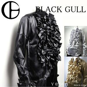 BLACKGULLステージ衣装男性メンズロックバンド衣装カラオケコスチュームV系ホストハロウィンコスプレ送料無料フリルシャツサテンシャツ