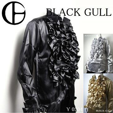 【BLACK GULL】メンズ ステージ衣装 コスチュームロック バンド衣装 男性【品番/デザイン】Y-0204サテン フリルシャツ【送料無料】