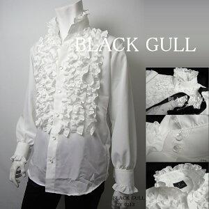 【BLACKGULL】ステージ衣装舞台バンド衣装オーケストラカラオケ男性メンズ【品番/デザイン】Y0216/6連フリルスタンドカラーシャツ