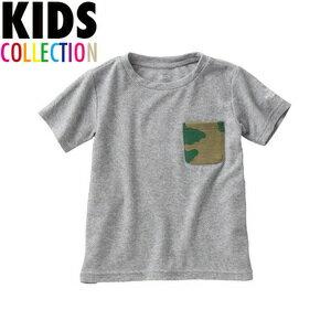 北臉 THE NORTH FACE 的孩子兒童衣服樁口袋 T 襯衫短袖 T 樁口袋 t 恤衫灰色迷彩小紅 NTJ11605
