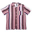 ナインルーラーズ シャツ メンズ レディース 半袖 開襟シャツ オープンカラー 送料無料 NINE RULAZ LINE Open Collar Striped Shirt ストライプ M-XXL NRSS19-016