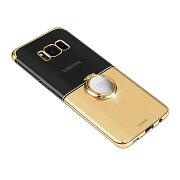 SamsungGALAXYS8クリアケースシンプルメッキ片手持ちスマホリング付きかっこいいサムスンギャラクシーS8透明ハードケースおすすめおしゃれスマホケース